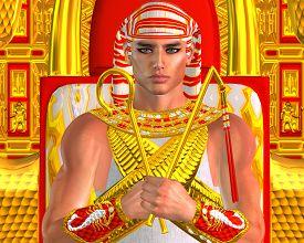 image of pharaohs  - Egyptian Pharaoh Ramses seated on throne - JPG