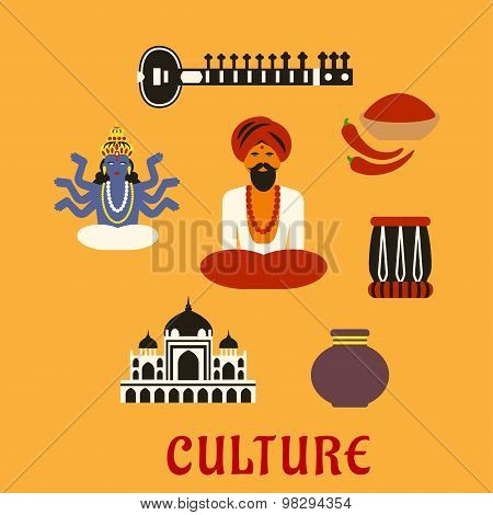 Indian Culture And Religion Icons Mouse Pad Id98294354