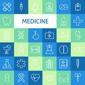 Постер, плакат: Vector Flat Line Art Modern Medicine And Healthy Life Icons Set