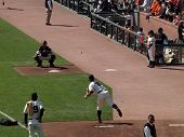 Giants Matt Cain Throws In The Bullpen To Catcher Buster Posey To Warm Up