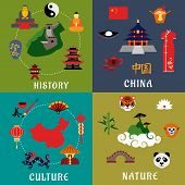 Постер, плакат: China history culture and nature icons