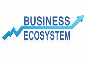 picture of ecosystem  - Business ecosystem with blue arrow image with hi - JPG