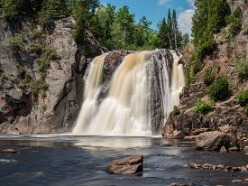 picture of baptism  - This is the High Falls at Baptism River of Tettegouche State Park in the Lake Superior North Shore area in Minnesota - JPG