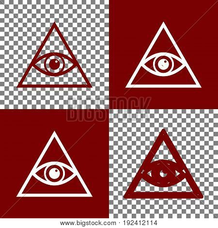 All seeing eye pyramid symbol. Freemason and spiritual. Vector. Bordo and white icons and line icons on chess board with transparent background.