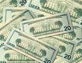 stock photo of twenty dollar bill  - a pile of 20 dollar bills - JPG