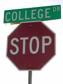 College Stop Sign