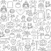Vector Cartoon Hand Drawn Halloween Background poster