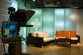 TV studio is prepared for the production and shooting