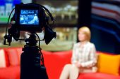 Video camera viewfinder - recording in TV studio - Talking To The Camera