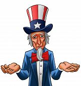 stock photo of uncle  - Uncle sam painted he looks not so happy - JPG