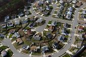 stock photo of subdivision  - Typical suburban culdesac in the mid atlantic region of the United States - JPG