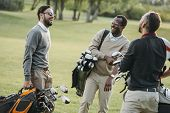 Multiethnic Golf Players With Golf Clubs Having Fun On Golf Course poster