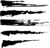 Set of five rough inky brush strokes. Each vector brush stroke on independent layer for easy use and