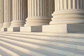 image of supreme court  - Washington DC Architectural detail of columns and marble steps - JPG