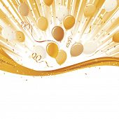 Yellow gold explosion with party balloons and shiny gold ribbon