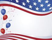picture of patriot  - Red white and blue flag wave with party balloons - JPG
