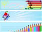 Illustrated set of three different  Back to school banners