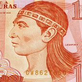 HONDURAS - CIRCA UNKNOWN: Lempira on Banknote from Honduras. Lempira (died 1537) was a war captain of the Lencas of western Honduras in Central America during the 1530s.