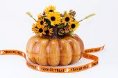 Halloween Pumpkin With Trick Or Treat Banner