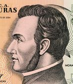 HONDURAS - CIRCA 2004: Francisco Morazan (1792-1842) on 5 Lempiras 2004 Banknote from Honduras. Gene