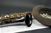 Tenor Sax With Collection Hat