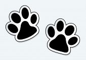 Animal paw prints icons with shadow effect