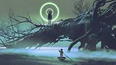 Dark-fantasy Scene Of The Boy On A Boat Looking At The Mysterious Man With One Eye On A Fallen Tree  poster