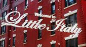 welcome To Little Italy Sign In Italian Community Named Little Italy In Downtown Manhattan, New Yo poster