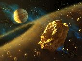 Asteroids belt in outer space, with Jupiter on background. Digital illustration.