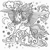 Beautiful Unicorn With A Long Mane. Black And White. For Coloring. For The Design Of Graphic Prints, poster