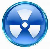 Radioactive Icon Blue, Isolated On White Background.