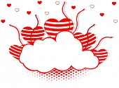 Vector illustration of a frame in cloud shape decorated with red and white hearts and copy space for Valentines Day and other occasions.