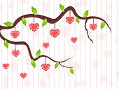 A love tree branch having hanging heart shapes and leafs on seamless line background for Valentines