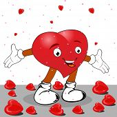 Heart in the form of funny character with red heart shapes on white background for Valentines Day and other occasions.
