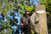 stock photo of man chainsaw  - A man with a chainsaw cuts through a large tree trunk - JPG