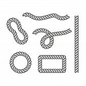 Rope For Decoration And Covering, Nautical Twisted Rope Knots. Round And Square Rope Frames, Cord Bo poster