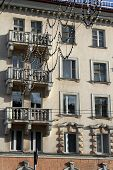 foto of murmansk  - Old apartment building on the main street of Murmansk Russia - JPG