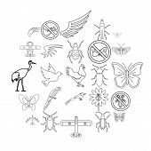 Fly Voyage Icons Set. Outline Set Of 25 Fly Voyage Icons For Web Isolated On White Background poster