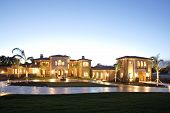 pic of dream home  - A huge new luxury home at sunset - JPG