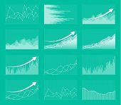 Set Of Different Graphs And Charts. Infographics And Diagnostics, Charts And Schemes Vector. Busines poster