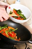 Cooking Vegetables In Wok Pan