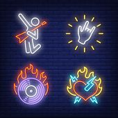 Cd Disk And Heart On Fire, Hand Gesture And Rocker Neon Signs Set. Rock Music And Entertainment Desi poster