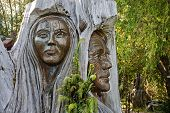 stock photo of maori  - Maori carvings are often found in the parks of New Zealand - JPG