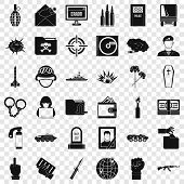 Army Icons Set. Simple Style Of 36 Army Vector Icons For Web For Any Design poster