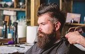 Hands Of Barber With Clipper And Comb, Close Up. Hipster Bearded Client Getting Hairstyle. Barbersho poster