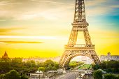 Eiffel Tower Close Up From Trocadero At Sunrise, Paris, France, Toned poster