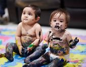 Children Playing With Paint. Dirty Kids After Playing poster