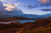 Scenic view of the lake and mountains at Scottish Highlands, Scotland, United Kingdom poster
