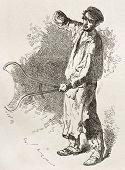 Vieja ilustración falsificador. Creado por Neuville después Bonhomme, publicado en Le Tour du Monde, París, 1
