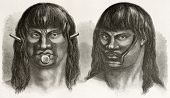 Passes and Juris indigenous, old engraved portraits (north-eastern Brazil tribes, today extinct).
